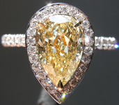 Yellow Diamond Ring: 1.53ct Fancy Yellow SI1 Pear Modified Brilliant Diamond Halo Ring GIA R6343
