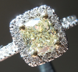 SOLD....Yellow Diamond Ring: 1.16ct W-X VVS2 Cushion Cut Diamond Halo Ring GIA R6361