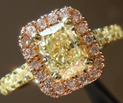 SOLD....Yellow Diamond Ring: 1.02ct Y-Z VVS1 Radiant Cut Diamond Halo Ring GIA R6384