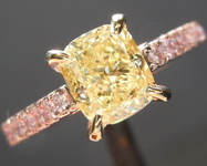 1.13ct Yellow Cushion Cut Diamond Ring GIA R6390