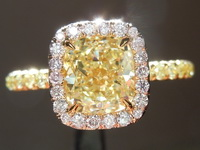 Diamond Ring: 1.53ct Fancy Light Yellow VS2 Cushion Cut Diamond Pink Lemonade™ Diamond Ring GIA R6427