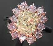 SOLD....Diamond Ring: 1.29ct Y-Z VVS1 Cushion Modified Brilliant Pink Lemonade™ Diamond Ring GIA R6503