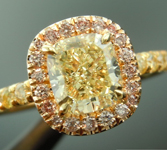 Yellow Diamond Ring: 1.13ct Y-Z VS1 Cushion Cut Pink Lemonade™ Diamond Ring GIA R6505
