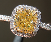Yellow Diamond Ring: 1.04ct Fancy Yellow VS2 Cushion Modified Brilliant Diamond Halo Ring GIA R6515