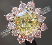 1.50ct Fancy Yellow VS2 Cushion Cut Diamond Ring GIA R6563