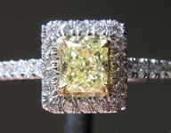 Yellow Diamond Ring: .49ct Fancy Yellow VS1 Cushion Cut Diamond Halo Ring GIA R6574