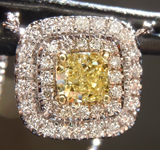SOLD....Yellow Diamond Pendant: .50ct Fancy Yellow I1 Cushion Cut Diamond Halo Pendant GIA R6578
