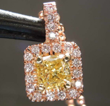 0.49ct Yellow VVS2 Radiant Cut Diamond Pendant R6587