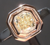 Yellow Diamond Ring: .93ct Fancy Light Yellow SI1 Cushion Cut Diamond Ring GIA R6625