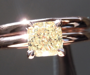 Yellow Diamond Ring: 1.00ct Fancy Light Yellow SI1 Cushion Cut Diamond Wedding Set GIA R6627