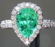 SOLD...Emerald Ring: 1.30ct Pear Shape Emerald and Diamond Halo Ring R6659