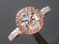 Pink Halo Diamond Ring: .60ct J SI1 RBC Diamond GIA Hand Forged 18kt R6663