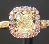 Yellow Diamond Ring: 1.01ct W-X VVS2 Cushion Modified Brilliant Pink Lemonade™ Diamond Ring GIA R6698