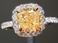 Yellow Diamond Ring: 1.58ct U-V VVS2 Cushion Modified Brilliant Diamond Halo Ring GIA R6729