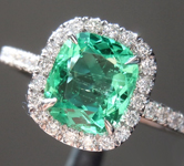 Emerald Ring: .97ct Green Cushion Cut Colombian Emerald Ring GIA R6730