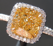 Yellow Diamond Ring: 2.35ct Fancy Light Yellow VS1 Cushion Modified Brilliant Diamond Halo Ring GIA R6739