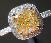Yellow Diamond Ring: 1.60ct Y-Z VS1 Cushion Modified Brilliant Diamond Halo Ring GIA R6740