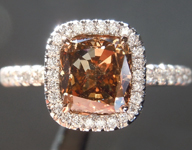 Brown Diamond Ring: 1.43ct Fancy Orange Brown VS2 Cushion Modified Brilliant Diamond Halo Ring GIA R6763