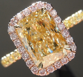 Yellow Diamond Ring: 2.14ct Y-Z VS2 Radiant Cut Pink Lemonade™ Diamond Ring GIA R6773