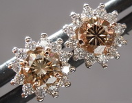 Brown Diamond Earrings: .56cts Fancy Brown VS Round Brilliant Diamond Halo Earrings R6822
