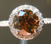 Brown Diamond Ring: 1.57ct Fancy Dark Orangy Brown SI2 Round Brilliant Diamond Halo Ring GIA R6823