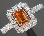 SOLD....0.51ct Brown-Orange SI2 Emerald Cut Diamond Ring R6835