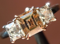 Brown Diamond Ring: .97ct Fancy Yellowish Brown VS2 Carré Three Stone Diamond Ring GIA R6842