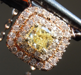 0.45ct Yellow SI2 Cushion Cut Diamond Pendant R6861