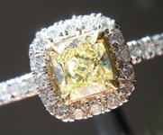 Yellow Diamond Ring:.51ct Fancy Yellow VS1 Cushion Cut Diamond Halo Ring GIA R6889