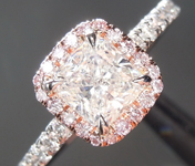 Colorless Diamond Ring: .79ct I SI2 Cushion Modified Brilliant Diamond Halo Ring GIA R6897
