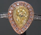 SOLD....Yellow Diamond Ring: .83ct Fancy Light Yellow VS2 Pear Shape Pink Lemonade™Diamond Ring GIA R6898