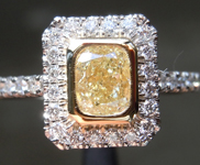 0.51ct Yellow VVS1 Cushion Cut Diamond Ring R6899