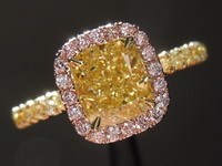 Diamond Ring: 1.21ct Fancy Intense Yellow VVS1 Cushion Cut Pink Lemonade™ Diamond Ring GIA R6908