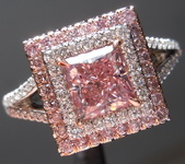 0.96ct Intense Purplish Pink SI2 Princess Cut Diamond Ring GIA R6913