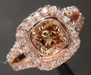 SOLD.....Brown Diamond Ring: 1.04ct Fancy Yellowish Brown SI1 Cushion Cut Diamond Halo Ring GIA R6978