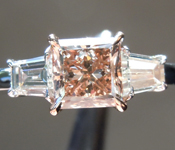 Brown Diamond Ring:.95ct Fancy Yellow Orangy Brown VS2 Princess Cut Diamond Ring R6983