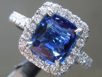 SOLD....1.96ct Blue Cushion Cut Sapphire Ring R7017