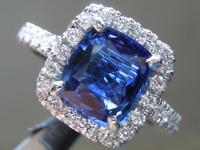 1.96ct Blue Cushion Cut Sapphire Ring R7017