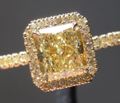 Yellow Diamond Ring: 1.36ct Fancy Yellow VVS1 Radiant Cut Diamond Halo Ring GIA R7023