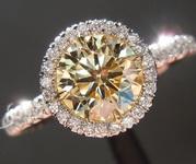 1.00ct Fancy Yellow SI2 Round Brilliant Diamond Ring R7035