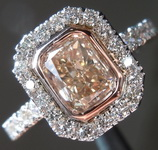 1.42ct Y-Z, Light Brown VS1 Radiant Cut Diamond Ring R7069