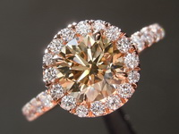 1.08ct Yellow-Brown SI1 Round Brilliant Diamond Ring R7072