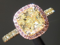 Yellow Diamond Ring: 1.61ct U-V SI2 Cushion Modified Brilliant Pink Lemonade™ Diamond Ring GIA R7080