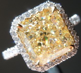 SOLD......Yellow Diamond Ring: 3.58ct U-V VS1 Radiant Cut Diamond Halo Ring GIA R7103