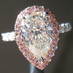 SOLD...Diamond Ring: 1.67ct M SI2 Pear Brilliant Diamond Halo Ring GIA R7152