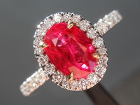 Burma Ruby and Diamond Halo Ring: 1.15ct Natural Oval Brilliant Ruby GIA R7155