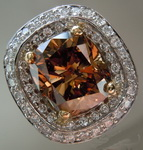 Diamond Ring: 4.22ct Orangy Brown Cushion Modified Brilliant Diamond Halo Ring GIA IMPRESSIVE R7158