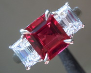 Ruby Ring: 2.29ct Natural Emerald Cut Ruby and Diamond Ring GRS R7220