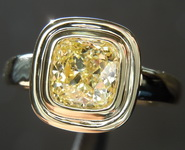 0.91ct Fancy Yellow SI2 Cushion Cut Diamond Ring R7241