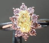 0.61ct Intense Yellow Oval Shape Diamond Ring R7264